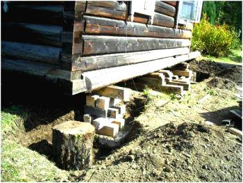 ремонт старого фундамента деревянного дома
